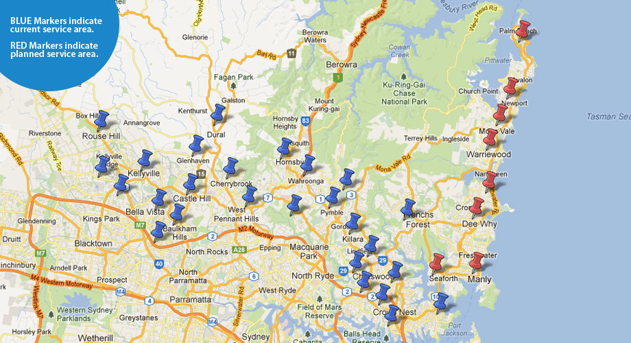 window cleaning service sydney map