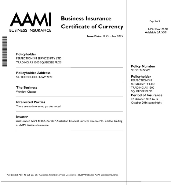 1300 Squeegee Certificate Of Insurance